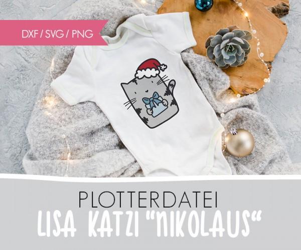 """DXF/SVG-FILE - Plotterdatei - """"XMAS Katze Nikolaus"""""""