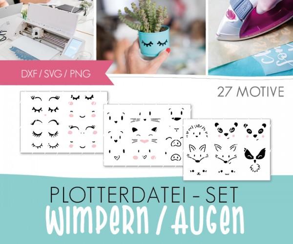 """DXF/SVG-FILE - Plotterdatei - XXL SET - 27 Motive """"Wimpern/Augen/Tiere"""""""