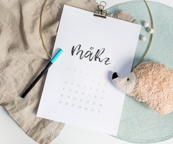 Schwangerschaft Kalenderblatt - CLEAN - Entbindungstermin - März 2019 - PDF & JPG-FILE - Download